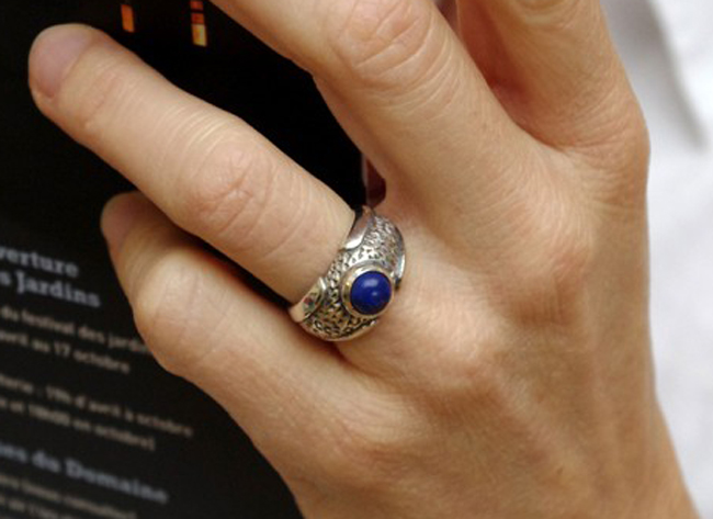bague argent en lapis lazuli